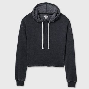 Gray Cropped Hoodie